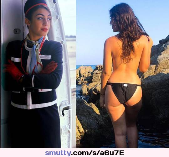 fishnet stockings and heels adorn super model iveta #airhostess #toplessfrombehind